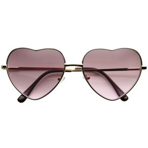 METAL HEART SHAPE RAINBOW COLOR LENS SUNGLASSES